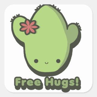 Libere los abrazos pegatina cuadrada