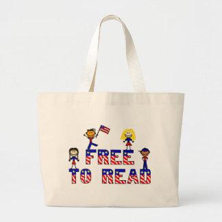 Libere para leer a los niños JumboTote natural de  Bolsa Tela Grande