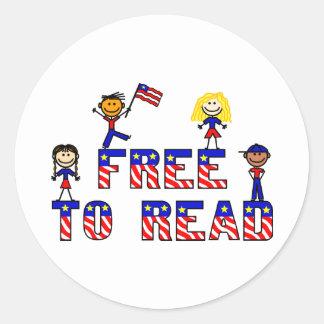 Libere para leer al pegatina redondo de los niños