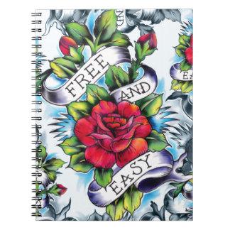 Libere - y - el tatuaje subió acuarela fácil Art. Libros De Apuntes Con Espiral