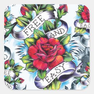 Libere - y - el tatuaje subió acuarela fácil Art. Pegatina Cuadrada