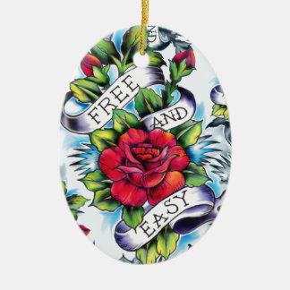 Libere - y - los productos fáciles del tatuaje de adorno navideño ovalado de cerámica