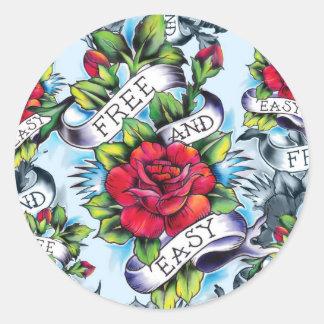 Libere - y - los productos fáciles del tatuaje de pegatina redonda