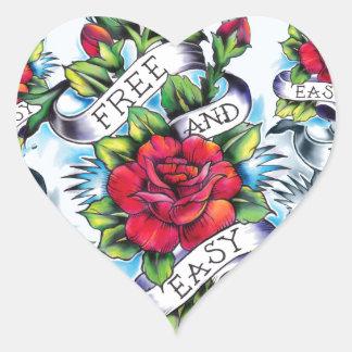Libere - y - los rosas y la bandera fáciles del pegatina en forma de corazón