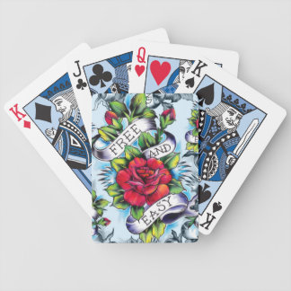 Libere - y - los rosas y la bandera fáciles del ta cartas de juego