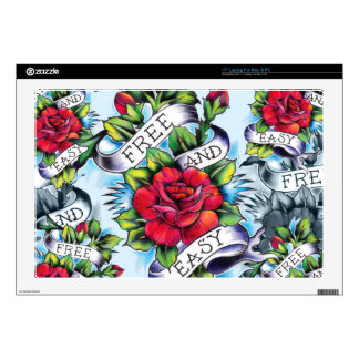 Libere - y - los rosas y la bandera fáciles del ta calcomanías para portátiles