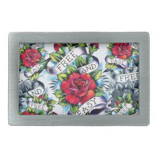 Libere - y - los rosas y la bandera fáciles del ta hebillas de cinturon rectangulares