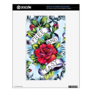 Libere - y - los rosas y la bandera fáciles del ta calcomanías para NOOK color