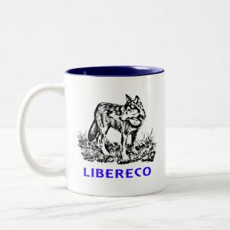 Libereco (Freedom, freedom) - Lupo EN naturo Two-Tone Coffee Mug
