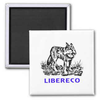 Libereco (Freedom, libertad) - Lupo en naturo Imán Cuadrado