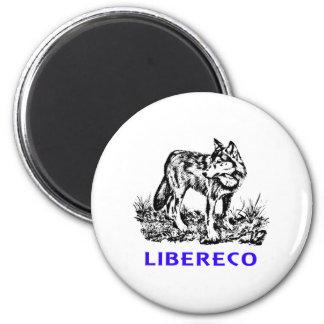 Libereco (Freedom, libertad) - Lupo en naturo Imán Redondo 5 Cm