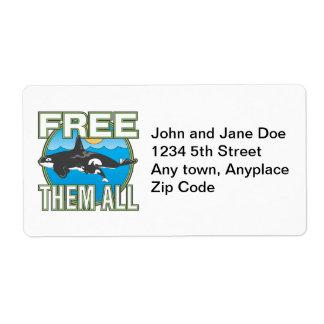 Libérelos todos (las ballenas) etiqueta de envío