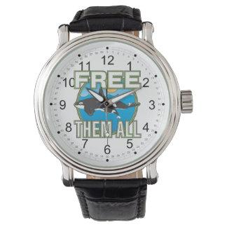 Libérelos todos (las ballenas) relojes de pulsera