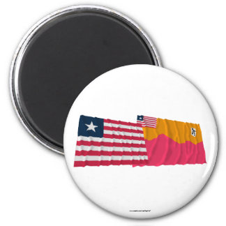 Liberia and Bong County Waving Flags Refrigerator Magnet