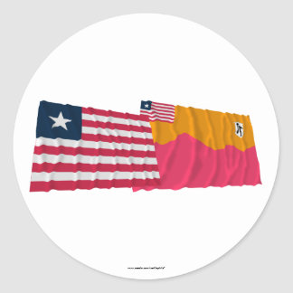 Liberia and Bong County Waving Flags Sticker