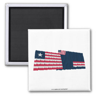 Liberia and Grand Bassa County Waving Flags 2 Inch Square Magnet