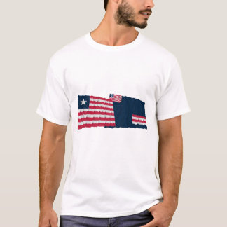 Liberia and Grand Bassa County Waving Flags T-Shirt