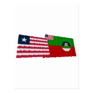 Liberia and Margibi County Waving Flags Postcard