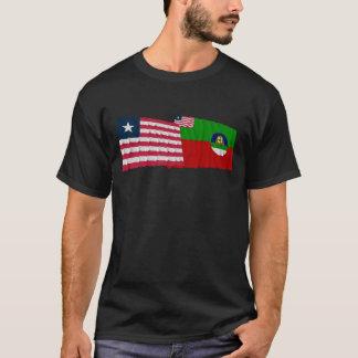 Liberia and Margibi County Waving Flags T-Shirt