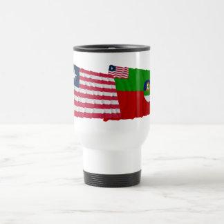 Liberia and Margibi County Waving Flags Travel Mug