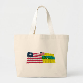 Liberia and Maryland County Waving Flags Tote Bag