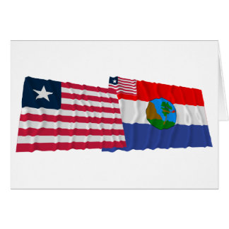 Liberia and Nimba County Waving Flags Card