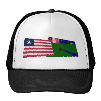 Liberia and River Gee County Waving Flags Trucker Hat