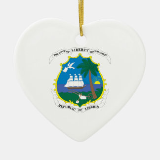 Liberia Coat of Arms Double-Sided Heart Ceramic Christmas Ornament