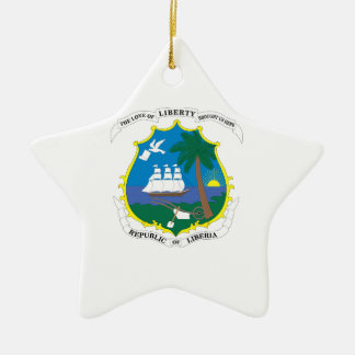 Liberia Coat of Arms Double-Sided Star Ceramic Christmas Ornament