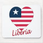 Liberia Flag Heart Mouse Mat