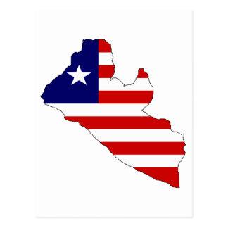 Liberia flag map postcards