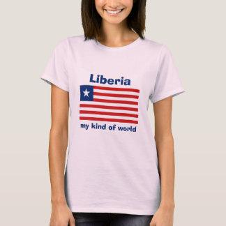 Liberia Flag + Map + Text T-Shirt