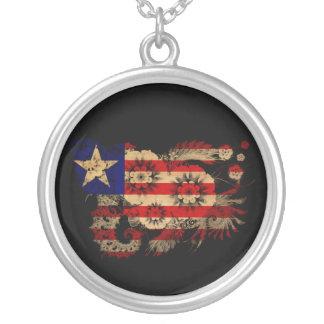 Liberia Flag Round Pendant Necklace