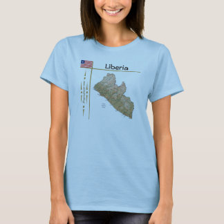 Liberia Map + Flag + Title T-Shirt