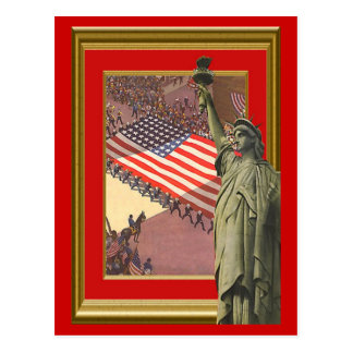 Libert and a giant stars and stripes postcard