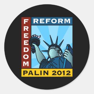 Libertad 2012 de Sarah Palin Pegatina Redonda