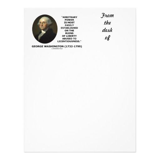 Libertad arbitraria del poder de George Washington Membrete