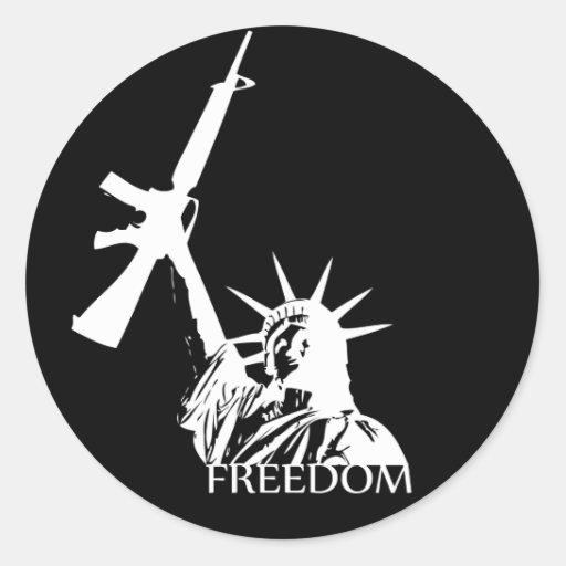 ¿Libertad - armas conseguidos? (Oscuridad grande) Pegatina Redonda