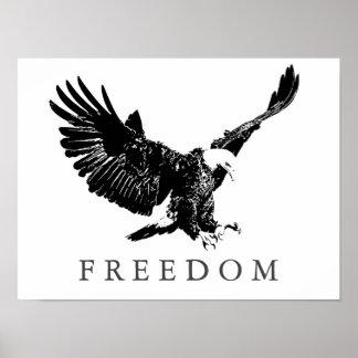 Libertad blanca Eagle del negro del arte pop que Posters