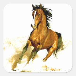 Libertad - caballo de funcionamiento pegatina cuadrada