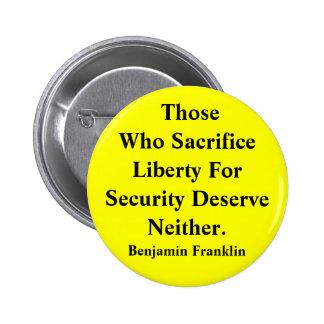 Libertad contra seguridad pin redondo de 2 pulgadas