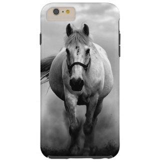 Libertad corriente blanca negra del caballo funda resistente iPhone 6 plus