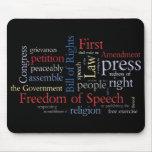 Libertad de expresión de la nube de la palabra de  alfombrillas de raton