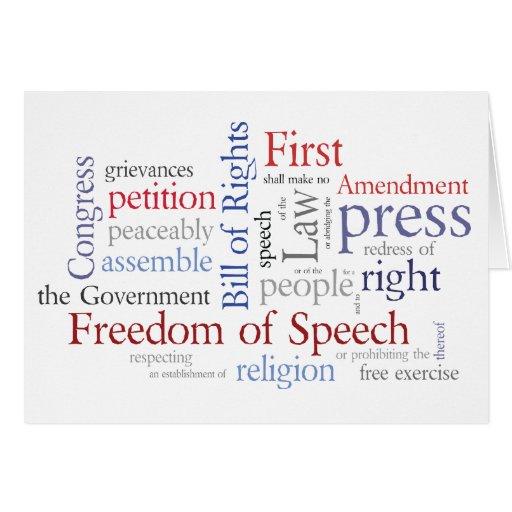 Libertad de expresión de la Primera Enmienda, reli Tarjeta