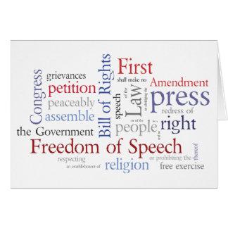 Libertad de expresión de la Primera Enmienda, reli Tarjeta De Felicitación