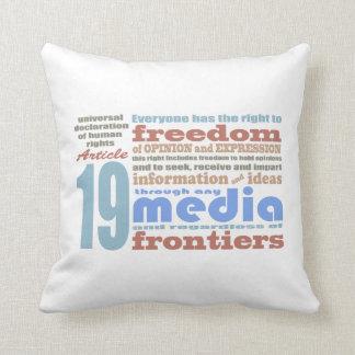 Libertad de expresión y artículo 19 de Opnion UDHR Cojines