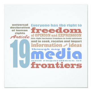 """Libertad de expresión y artículo 19 de Opnion UDHR Invitación 5.25"""" X 5.25"""""""