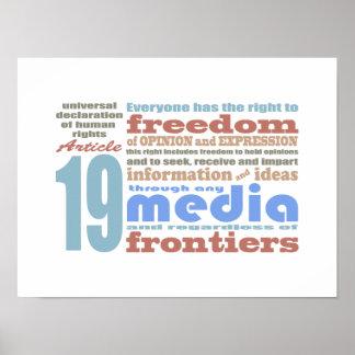 Libertad de expresión y artículo 19 de Opnion UDHR Póster