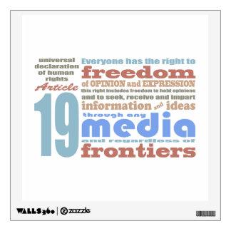 Libertad de expresión y artículo 19 de Opnion UDHR Vinilo