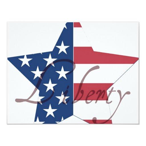 Libertad de la estrella de la bandera americana invitación 10,8 x 13,9 cm